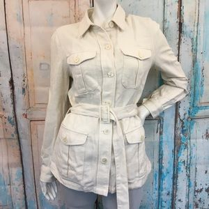 NWT CHAPS Cream Button Down Belted Shirt